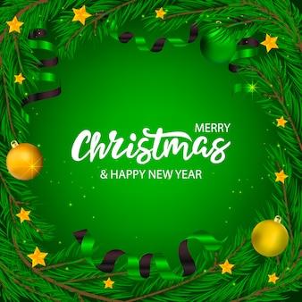 Vetorial mão desenhada banner de natal com letras e árvore com estrelas e fitas.