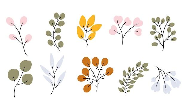 Vetorial mão desenhada coleção de ramos para decoração de berçário e chá de bebê. perfeito para aniversários, festas infantis, férias de verão, estampas de roupas