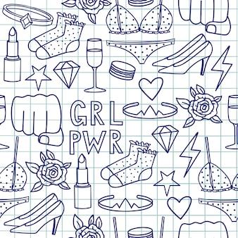 Vetorial mão desenhada desenho doodle padrão sem emenda com a inscrição grl pwr