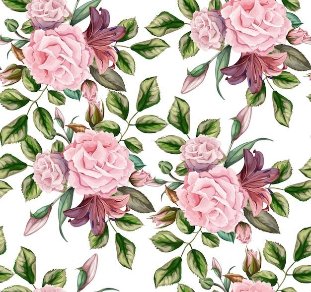 Vetorial mão desenhada flor rosa flor com folhas padrão sem emenda.