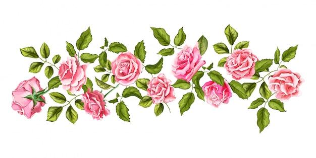 Vetorial mão desenhada flor rosa flor com folhas padrão