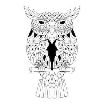 Vetorial mão desenhada zentangle coruja sentado no galho