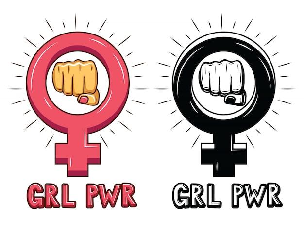 Vetorial mão desenhado conjunto de sinais sobre o poder da mulher.