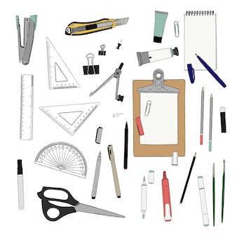 Vetorial, mão, desenhado, ilustração, de, estacionário