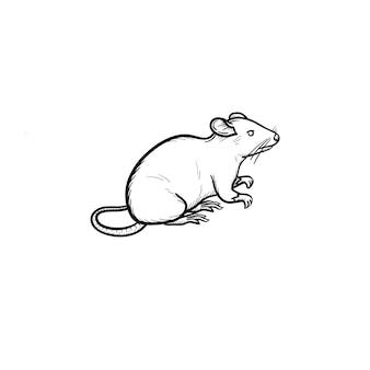 Vetorial mão extraídas ícone de doodle de contorno de rato de laboratório. ilustração de esboço de rato de laboratório para impressão, web, mobile e infográficos isolados no fundo branco.