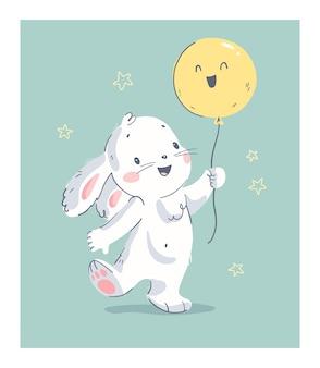 Vetorial mão ilustrações desenhadas com coelhinho fofo bebê segurar balão de ar isolado. para lindo cartão de feliz aniversário, impressão de berçário, cartaz de festa do chá de bebê, etiqueta de presente, banner, adesivo, convite.