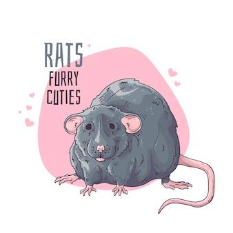 Vetorial mão ilustrações desenhadas. rato bonitinho e realista.