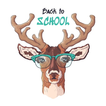 Vetorial mão ilustrações desenhadas. retrato de bonito cervo realista em copos.