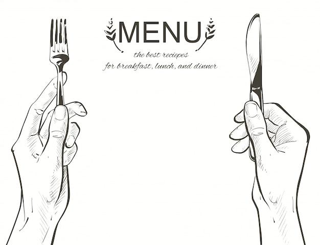 Vetorial, mãos, segurando, um, faca garfo