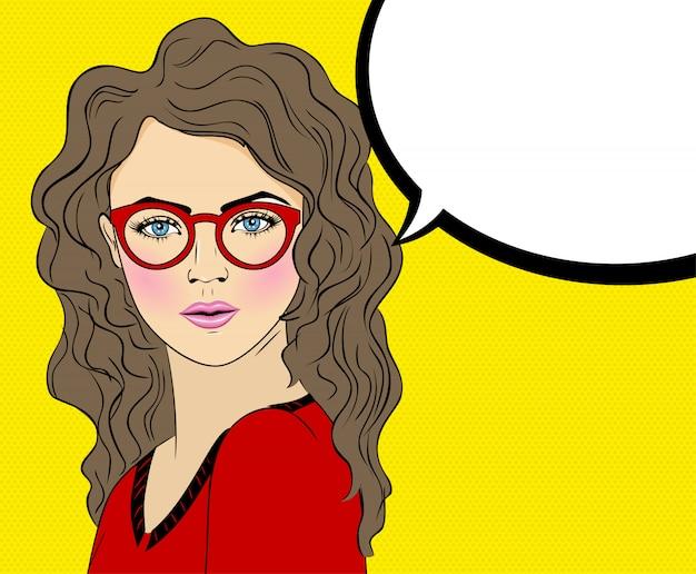 Vetorial, quadrinhos, ilustração, de, arte pop, mulher