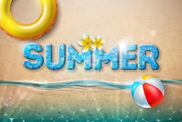Vetorial, verão, ilustração, com, bola praia, e, flutuador