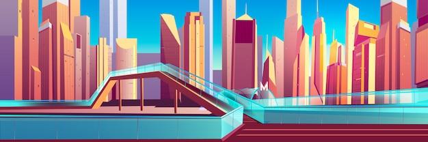 Viaduto de pedestres no vetor de desenhos animados da cidade moderna
