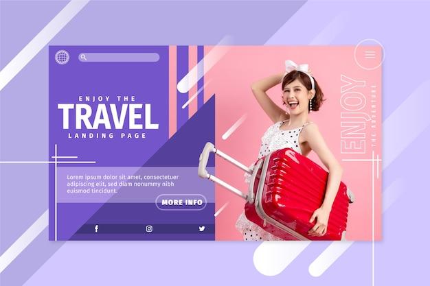 Viagem à página de destino com foto