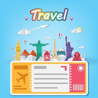 Viagem aérea de avião ao redor do mundo