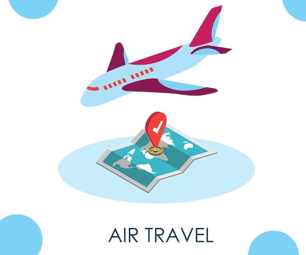Viagem aérea on-line isométrica