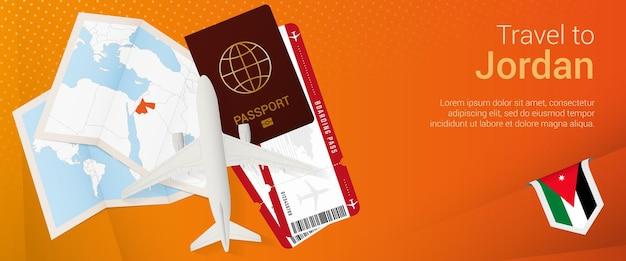Viagem ao banner pop-under da jordânia. banner de viagem com passaporte, passagens, avião, cartão de embarque, mapa e bandeira da jordânia.