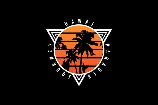 Viagem ao paraíso no havaí, tipografia de maquete de coqueiro de silhueta