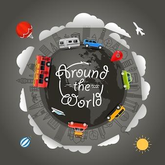 Viagem ao redor da terra ilustração vetorial ao redor do mundo