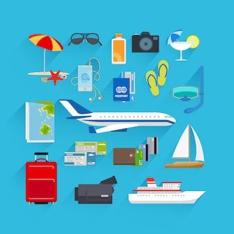 Viagem, apartamento, ícones