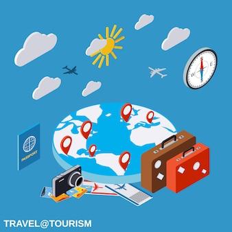 Viagem, apartamento, isometric, conceito, ilustração