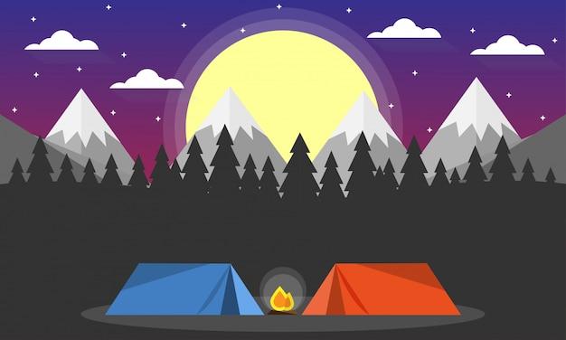 Viagem aventura camping noite cena