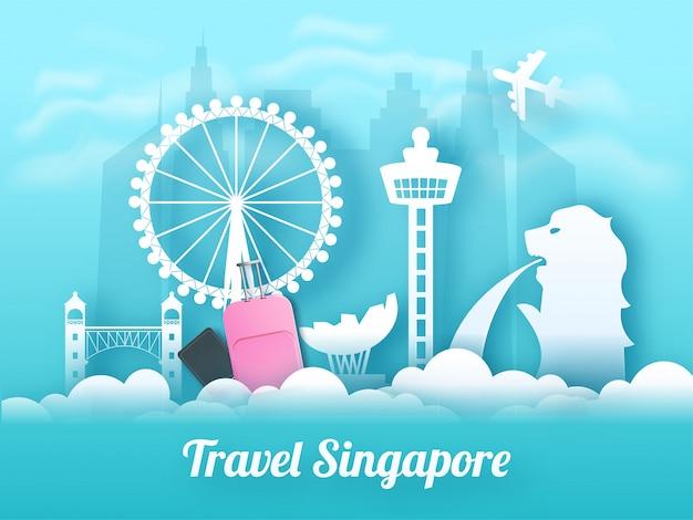 Viagem bandeira de singapura ou design de cartaz.