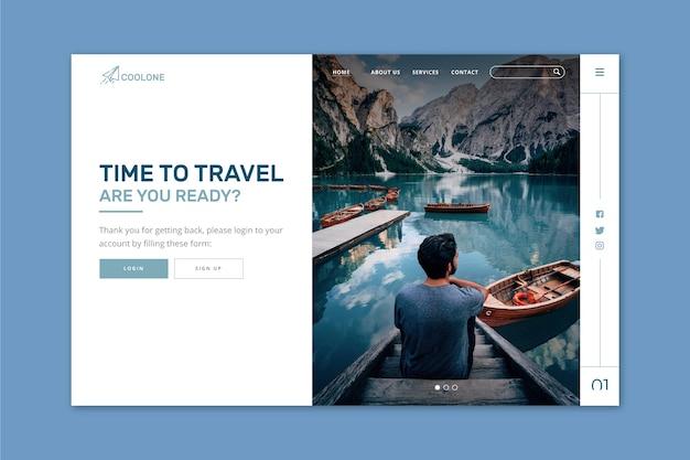 Viagem da página de destino com imagem