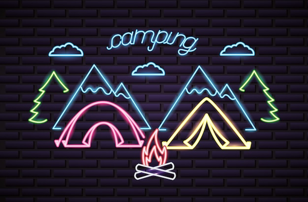 Viagem de acampamento em estilo neon