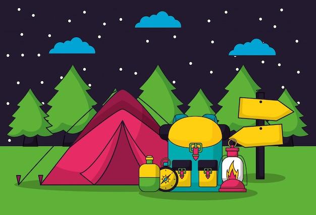 Viagem de acampamento em estilo simples