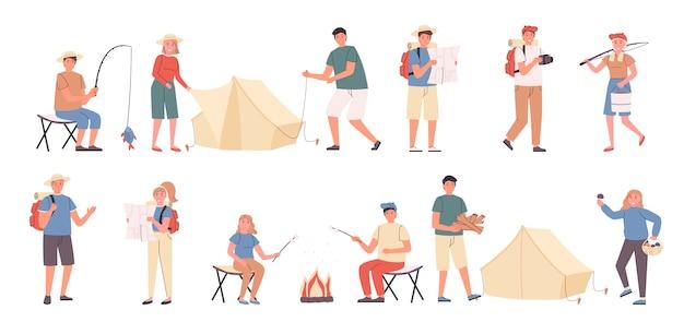 Viagem de acampamento, lazer na natureza, conjunto de plano de descanso ecológico