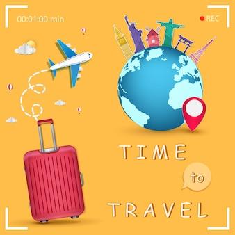Viagem de avião ao redor do mundo.