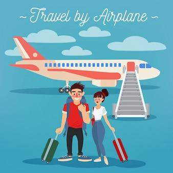 Viagem de avião. industria do turismo. pessoas ativas. menina com bagagem. homem com bagagem. casal feliz