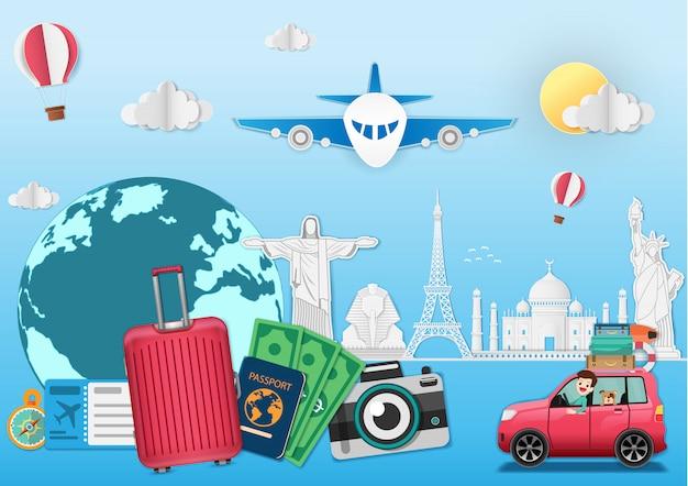 Viagem de bagagem ao redor da bandeira de verão conceito mundial.