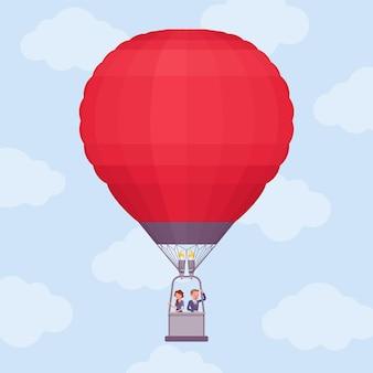 Viagem de balão de ar quente para empresários. empresário e mulher de negócios flutuando no alto, aproveite uma incrível aventura de projeto ou inicialização, mova-se para uma nova perspectiva e conquista. ilustração vetorial