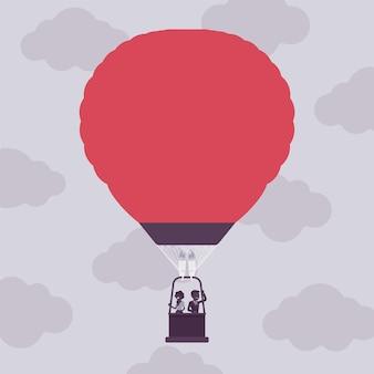Viagem de balão de ar quente para empresários