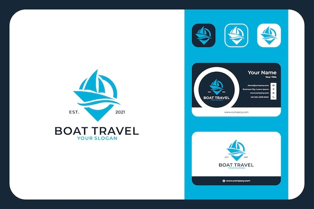 Viagem de barco com logotipo de pin e cartão de visita