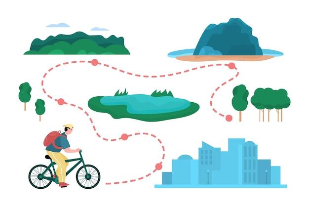 Viagem de bicicleta com ciclista se movendo ao longo da ilustração vetorial plana de rota isolada