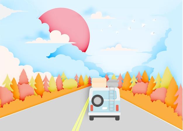 Viagem de carro com carro e estilo de corte de papel de fundo de esquema de cores pastel outono natural