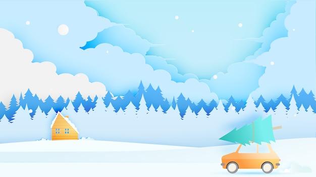 Viagem de carro e paisagem de inverno com estilo de arte de papel e esquema de cores pastel