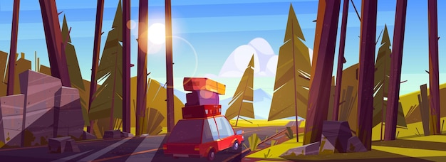 Viagem de carro nas férias de verão, viagens de férias no automóvel com sacos no telhado indo na rodovia na floresta com árvores, hora do dia.