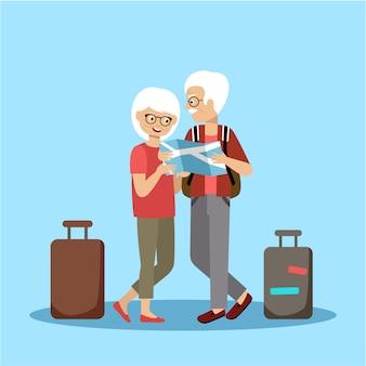 Viagem de casal de idosos