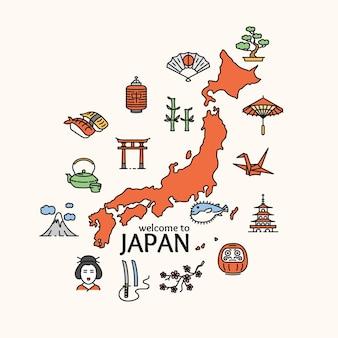 Viagem de conceito de japão. mapa do país. poster. ilustração vetorial
