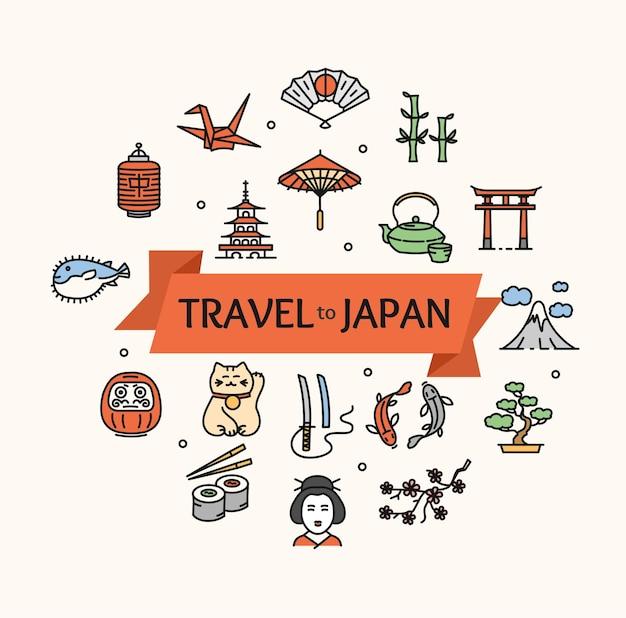 Viagem de conceito de japão. pronto para o seu negócio. ilustração vetorial