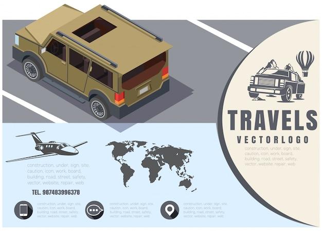 Viagem de conceito, gráficos vetoriais, viagem de carro, voos em aviões, ilustração das viagens ao redor do mundo, design isométrico