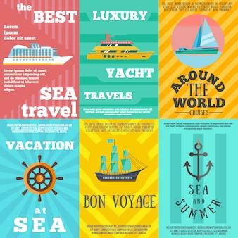 Viagem de cruzeiro 6 composição de ícones plana
