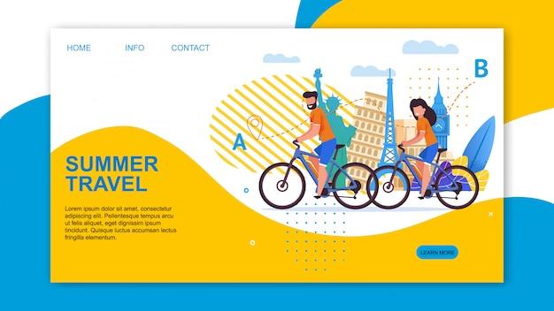 Viagem de eco de publicidade de página de destino de viagem de verão
