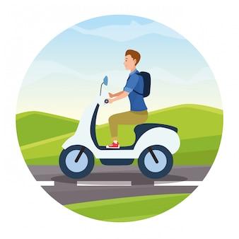 Viagem de equitação em desenhos animados de scooter