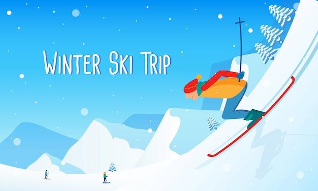 Viagem de esqui no inverno
