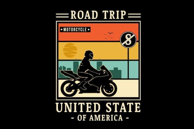Viagem de estrada de motocicleta estado da américa unida cor laranja creme e verde