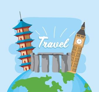 Viagem de exploração global com passaporte e bilhete